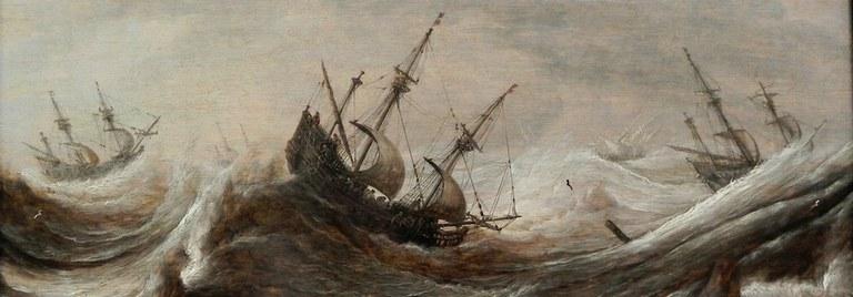 Schiffe in stürmischer See, Pieter Mulier, 17. Jahrhundert, gemeinfrei